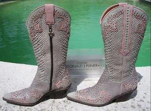 Donald Pliner $950 WESTERN COUTURE BOOT Shoe NIB STUD DETAIL SNAKE REPTILE