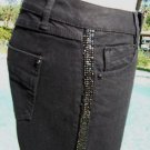 Cache $118 STRETCH SEQUIN TRIM TUXEDO DENIM Jean Pant NWT 0/2/4 XS/S