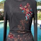 Cache $245 LOT 2 SHEER ILLUSION MESH BLING EMBELLISHED Top+ Skirt NEW XS/S LINED