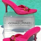 Donald Pliner COUTURE $225 MESH ELASTIC LEATHER Shoe NIB TORTOISE BUCKLE FUCHSIA