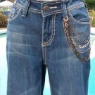 Cache DENIM CHAIN EMBELLISHED $118 Jean Pant NWT XS/S 0/2/4/6 STRETCH DRESS UP