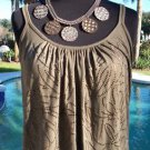 Cache $88 EMBELLISHED FRONT Top NWT S/M STRETCH BANDED BOTTOM RUCHED NECK