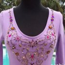 Cache $98 RHINESTONE BEAD PEARL EMBELLISHED STRETCH Top NWT XS/S/M COTTON