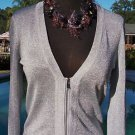 Cache $128 UP-ZIP ALL THE WAY FRONT SILVER METALLIC Top NWT XS/S/M/L STRETCH