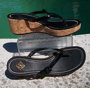Donald Pliner $285 COUTURE CORK WEDGE PATENT LEATHER THONG STRAP SANDAL Shoe NIB