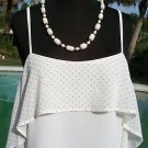 Cache $98 CAMI Top NWT XS/S/M/L SILVER DOT METAL SEQUIN LINED ADJUSTABLE STRAPS
