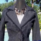 Cache $168 BLACK DENIM Top JACKET NWT 0/2/4/6 EYELASH TRIM STRETCH