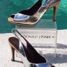 Donald Pliner $285 COUTURE CORK METALLIC SILVER LEATHER Pump Shoe NIB SLINGBACK