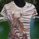 Cache $$$ ANIMAL MAGNETISIM RHINESTON EMBELLISHED STRETCH TEE Top NWT S
