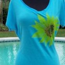 Cache $$$ STRETCH PLUNGING V NECK SUNFLOWER OCEAN BLUE TEE Top NWT S/M/L YUMMY