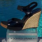 Donald Pliner COUTURE $275 PATENT LEATHER HEMP WEDGE Shoe NIB 11 RUBBER SOLE