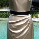 Cache $188  SATIN SELF-BELT STYLE EVENT DRESS NWT 2/4/6 XS/S LINED CHAMPAGNE BLK