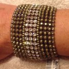 "Cache $58 BRACELET NWT STRETCH ADJUSTABLE CUFF RHINESTONE 2"" WIDE MATCHES TOPS"