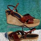 Donald Pliner $225 COUTURE PATENT SUEDE PLATFORM WEDGE Shoe NIB 10 CORK MIDSOLE