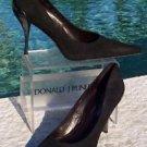 Donald Pliner $350 COUTURE SUEDE LEATHER Shoe Pump NIB 5 METAL HEEL SIGNATURE
