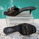 Donald Pliner $275 COUTURE METALLIC GATOR LEATHER SLIDE Shoe NIB PEACE SIGN