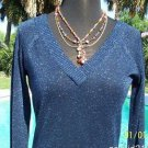 Cache LUXE $98 MIDNIGHT BLUE METALLIC DOUBLE PLUNGING V Top NWT XS/S/M STRETCH