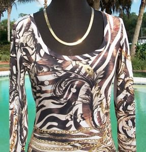 Cache $$$ STRETCH GOLD METALLIC CHAINS ANIMAL  TEE Top NWT XS/S