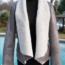 Cache $238 SILVER METALLIC SHEARLING JACKET COAT Top NWT XS/S/M Faux Fur