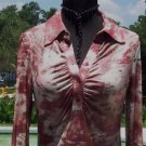 Cache $98 RUCHED DIP DYE TIE DYE METALLIC BUTTON PLUNGING V Top NWT S/M/L