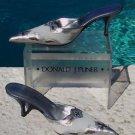 Donald Pliner $325 COUTURE METALLIC LEATHER MULE Shoe NIB 6  ICE SUEDE SIGNATURE