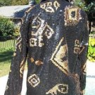 CHICO'S Chicos 0 $198 SEQUIN ENCRUSTED LINED JACKET Top NWT XS/S BLACK & GOLD