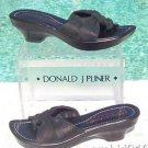 Donald Pliner $225 COUTURE BLACK METALLIC LEATHER Shoe NIB PLATFORM BASE NONSKID
