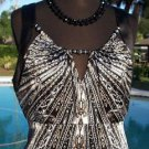 Cache $128 BEADED CUT-IN SLEEVE Top NWT XS/S/M KEY HOLE FRONT BACK FLIRTY STRETC