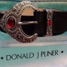 DONALD PLINER $165 BLACK ~OR~ RUST SUEDE METALLIC LEATHER BELT NWT XS/S/M