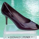 Donald Pliner $250 COUTURE WALNUT PATENT Shoe NIB PEEP-TOE FLEX SOLE SIGNATURE