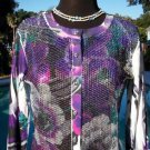 Cache $108 SEQUIN ENCRUSTED STRETCH CARDIGAN Top NWT XS/S GEM STONE BUTTONS