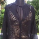 Cache LUXE $158 LOT 2 BLACK SILK TUNIC + ANIMAL CAMI Top NWT M/L WEAR TOGETHER