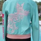Donald Pliner $1500 BUTTER LEATHER Bomber Jacket Coat EMBROIDERY NWT S/M