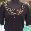 Cache $98 EMBELLISHED SILK BLEND STRETCH KNIT Top NWT S/M/L SWEATER