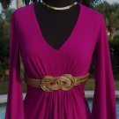 Cache $118 EMPIRE BUST GOLD METAL GRECIAN SELF-BELT Top NWT XS/S/M RUCHED STRETC