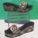 Donald Pliner $335 COUTURE TORTOISE PATENT LEATHER WEDGE Shoe BUCKLE DETAIL