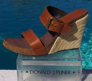 Donald Pliner COUTURE $275 LEATHER HEMP WEDGE Shoe NIB 11.5 RUBBER SOLE SIGNATUR