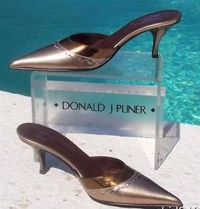 Donald Pliner $250 COUTURE METALLIC MIRROR LEATHER Shoe NIB 6.5 MULE SLIDE