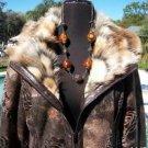 Cache $288  Faux FUR LEATHER SUEDE Jacket Coat Top NWT L Front Zip MINK LINED