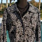 CHICO'S Chicos 3 $89 Jacket~ Top NWT L/XL Floral Flips Molino 3/4 Sleeve STRETCH