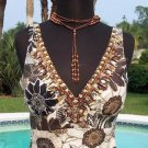Cache $138 DOUBLE PLUNGING V NECK LINEN EMBELLISHED Top NWT 4/6/8 S/M LINED