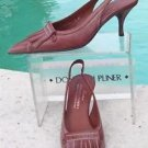 Donald Pliner $255 COUTURE OIL SKIN CALF Leather Pump Shoe NIB SLINGBACK