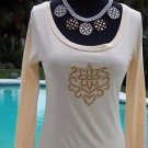 Cache  RHINESTONE CROWN CREST VANILLA Top NWT XS/S/M+ STRETCH DRESS UP OR DOWN