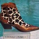 Donald Pliner $575 WESTERN COUTURE METALLIC GATOR BOOT Shoe NIB 6 6.5 HAIRCALF