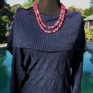 Cache $98 NAVY BLUE PEEK-A-BOO KNIT OVERSIZE COLLAR Top NWT STRETCH S/M/L