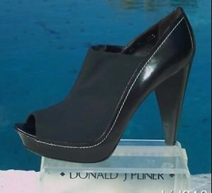 Donald Pliner $395 COUTURE LEATHER PLATFORM Shoe NIB CREPE ELASTIC PEEP-TOE