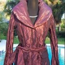 Cache $238 BERRY SHEEN METALLIC Jacket + Belt NWT XS/S/M/L PUFFER DOWN FILLED