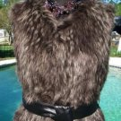 Cache $228 FOX Faux FUR VEST Removable LEATHER BELT Coat Top NWT S/M/L