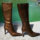 Donald Pliner $425 COUTURE ANTIQUE METALLIC LEATHER Boot Shoe NIB FULL ZIPPER