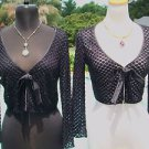 Cache $198 PEEK-A-BOO BEAD ENCRUSTED SHRUG WRAP Top NWT XS/S/M STRETCH FRONT TIE